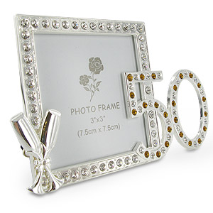 50th wedding anniversary diamante photo frame
